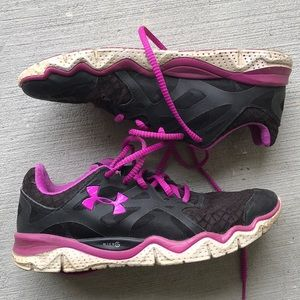 Purple and Black Under Armour Shoes